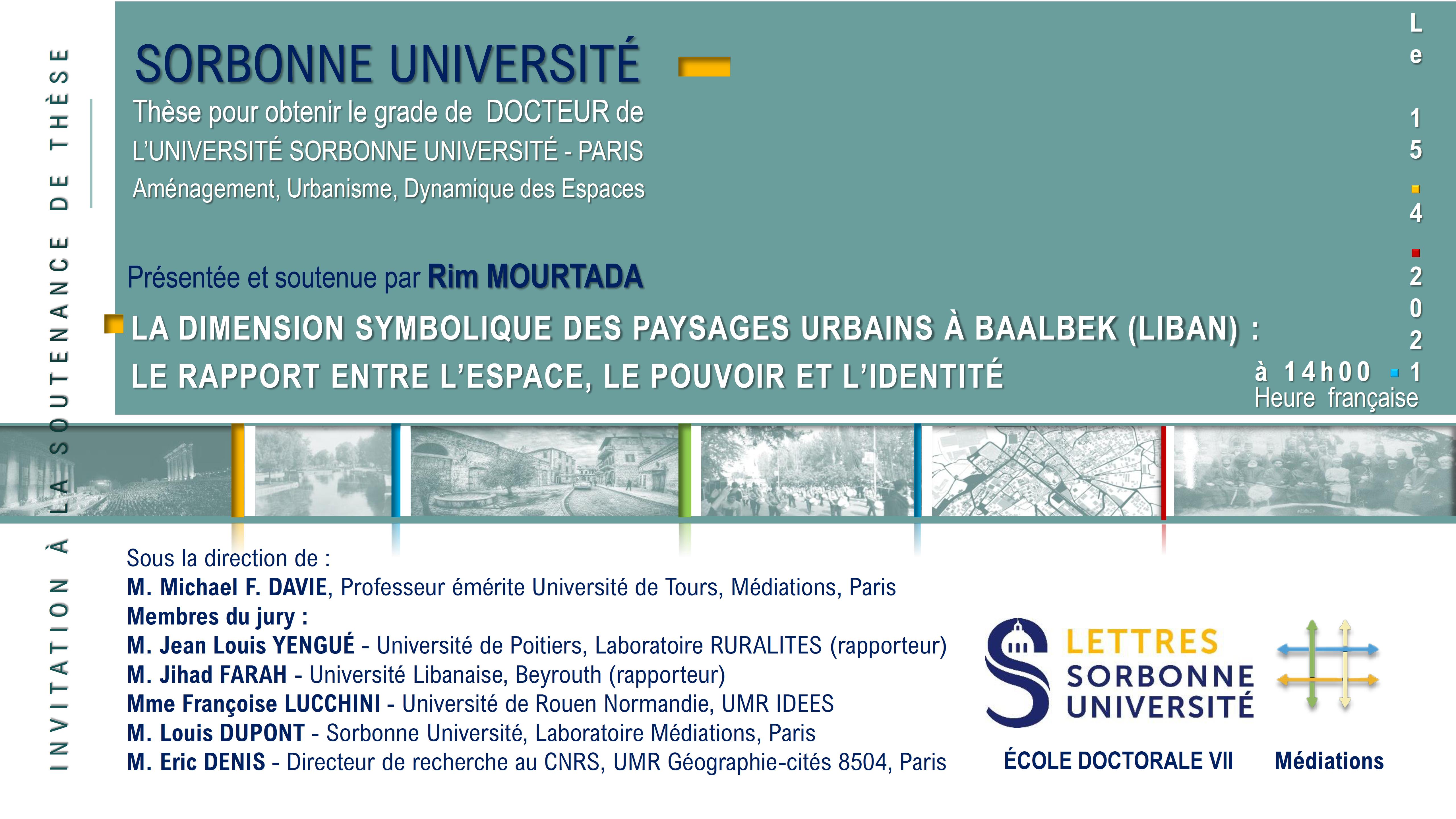 Soutenance de thèse de Rim Mourtada le 15 avril 2021