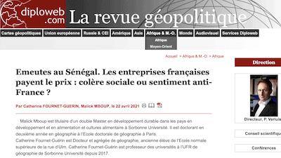 Read more about the article Catherine Fournet-Guérin et Malick Mboup publient un article dans la revue Diploweb.